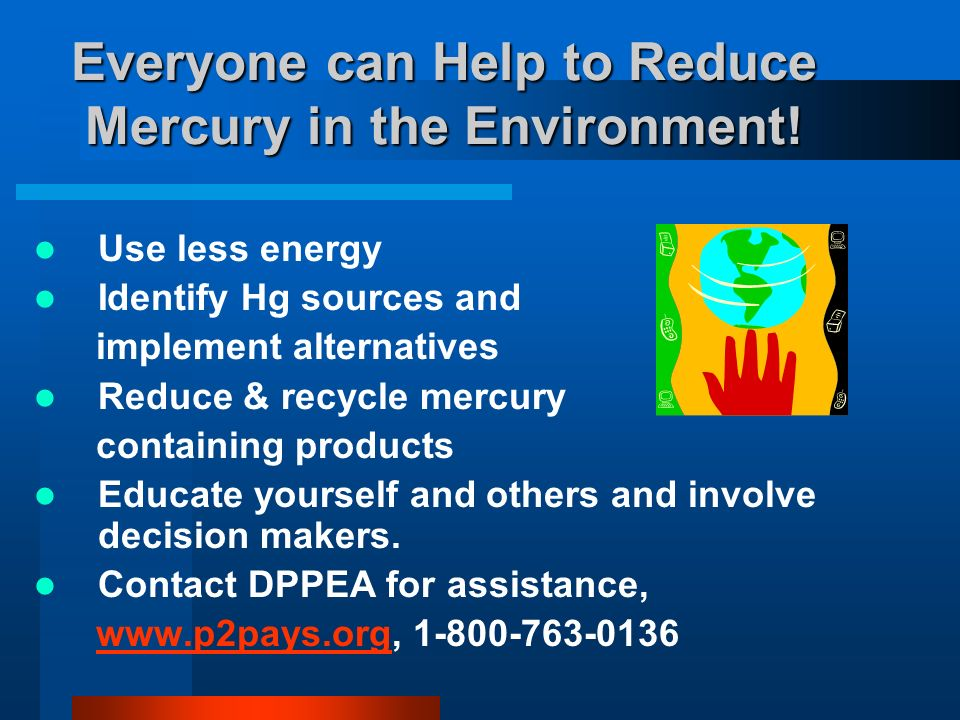 Everyone can Help to Reduce Mercury in the Environment.