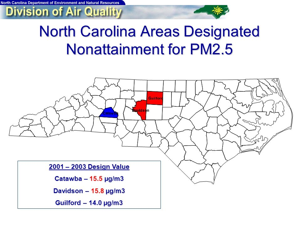 North Carolina Areas Designated Nonattainment for PM2.5 2001 – 2003 Design Value Catawba – 15.5 µg/m3 Davidson – 15.8 µg/m3 Guilford – 14.0 µg/m3