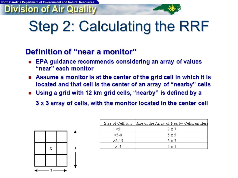 Step 2: Calculating the RRF Definition of near a monitor Definition of near a monitor EPA guidance recommends considering an array of values near each monitor EPA guidance recommends considering an array of values near each monitor Assume a monitor is at the center of the grid cell in which it is located and that cell is the center of an array of nearby cells Assume a monitor is at the center of the grid cell in which it is located and that cell is the center of an array of nearby cells Using a grid with 12 km grid cells, nearby is defined by a 3 x 3 array of cells, with the monitor located in the center cell Using a grid with 12 km grid cells, nearby is defined by a 3 x 3 array of cells, with the monitor located in the center cell