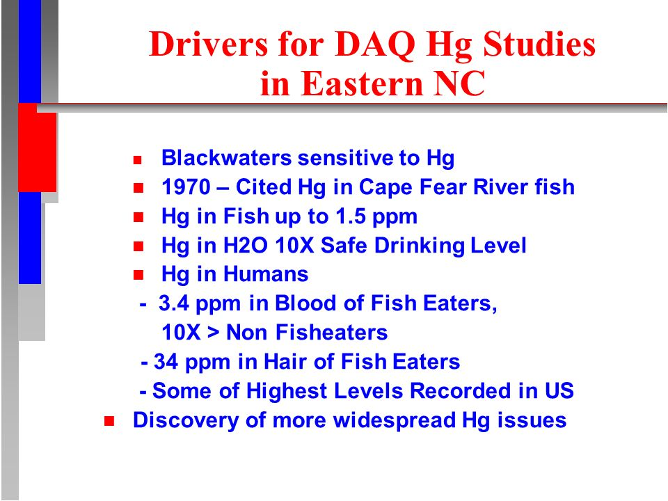 Drivers for DAQ Hg Studies in Eastern NC n Blackwaters sensitive to Hg n 1970 – Cited Hg in Cape Fear River fish n Hg in Fish up to 1.5 ppm n Hg in H2O 10X Safe Drinking Level n Hg in Humans - 3.4 ppm in Blood of Fish Eaters, 10X > Non Fisheaters - 34 ppm in Hair of Fish Eaters - Some of Highest Levels Recorded in US n Discovery of more widespread Hg issues