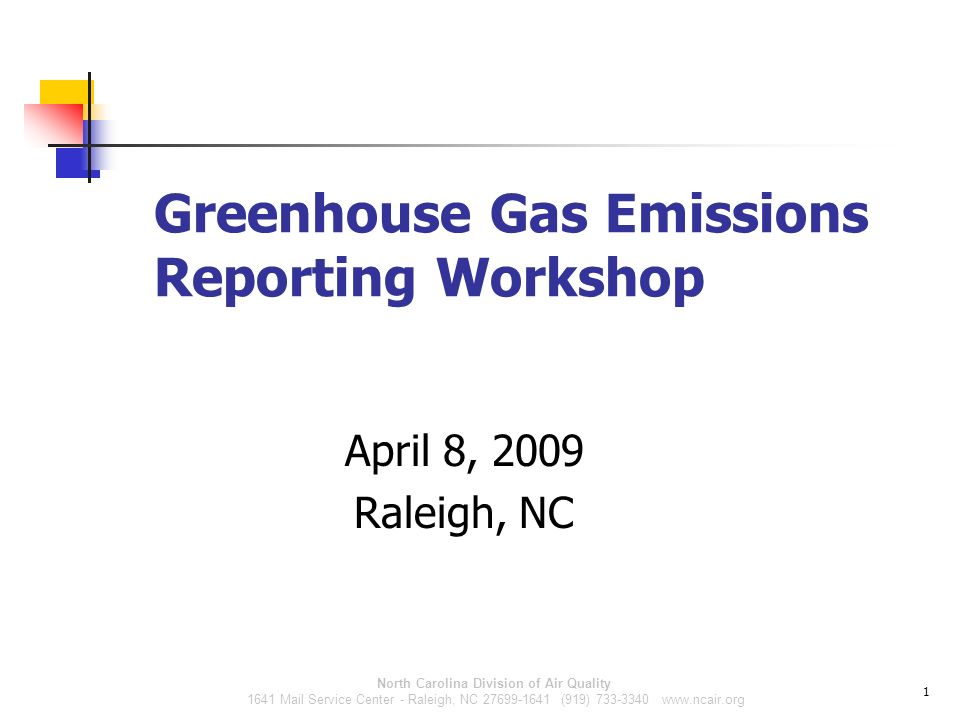 North Carolina Division of Air Quality 1641 Mail Service Center - Raleigh, NC (919) Greenhouse Gas Emissions Reporting Workshop April 8, 2009 Raleigh, NC 1