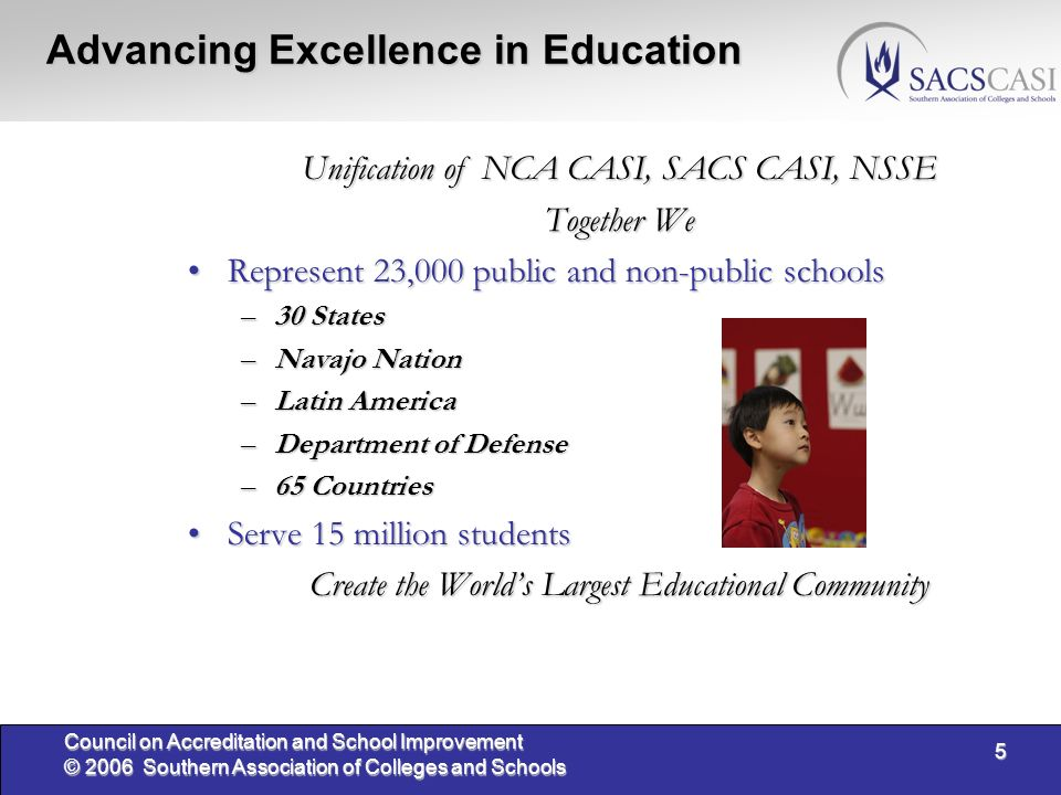 5 Council on Accreditation and School Improvement © 2006 Southern Association of Colleges and Schools Advancing Excellence in Education Unification of NCA CASI, SACS CASI, NSSE Together We Represent 23,000 public and non-public schoolsRepresent 23,000 public and non-public schools –30 States –Navajo Nation –Latin America –Department of Defense –65 Countries Serve 15 million studentsServe 15 million students Create the Worlds Largest Educational Community