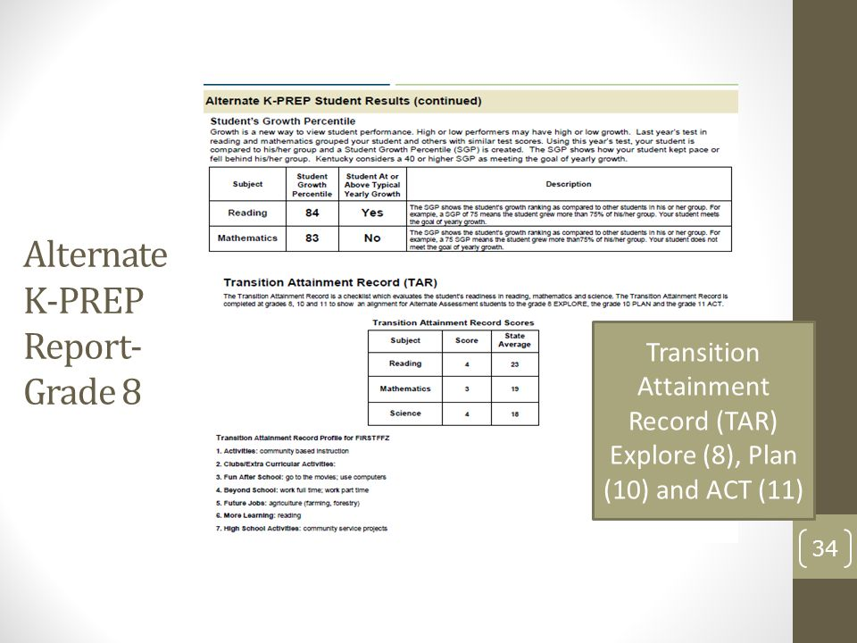 Alternate K-PREP Report- Grade 8 34 Transition Attainment Record (TAR) Explore (8), Plan (10) and ACT (11)