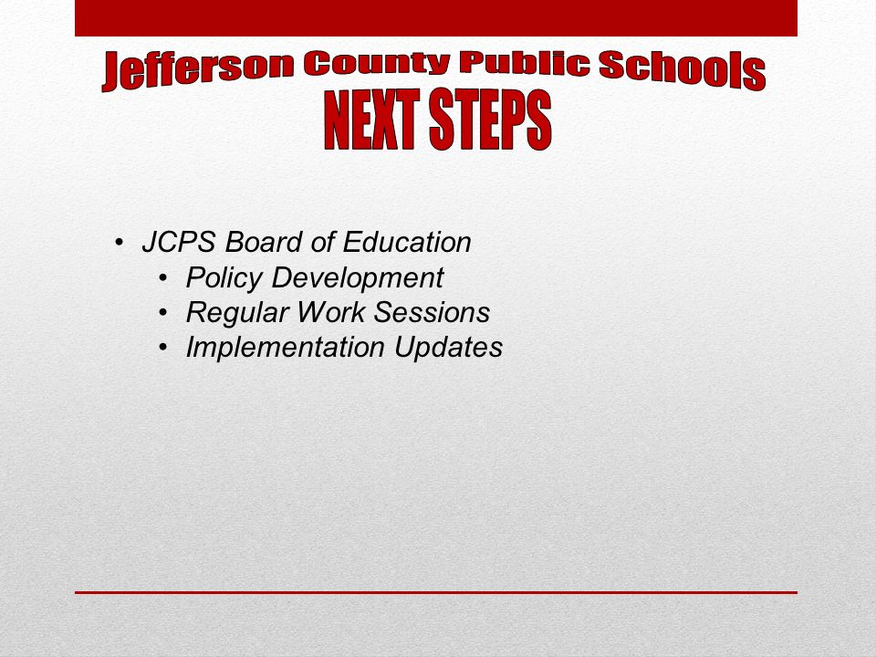 JCPS Board of Education Policy Development Regular Work Sessions Implementation Updates