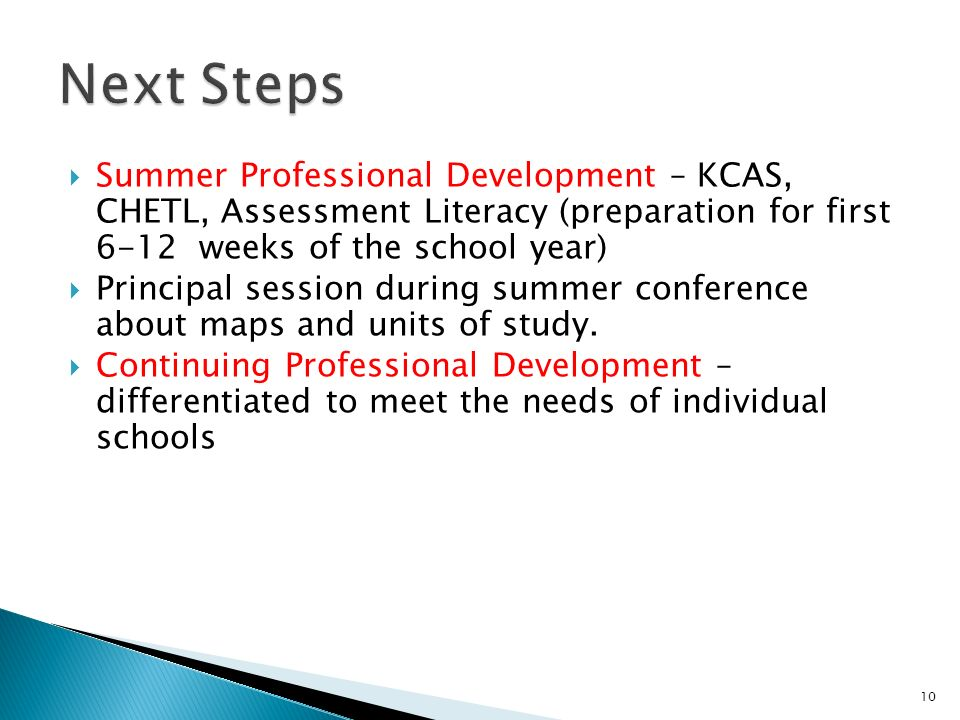 Summer Professional Development – KCAS, CHETL, Assessment Literacy (preparation for first 6-12 weeks of the school year) Principal session during summer conference about maps and units of study.