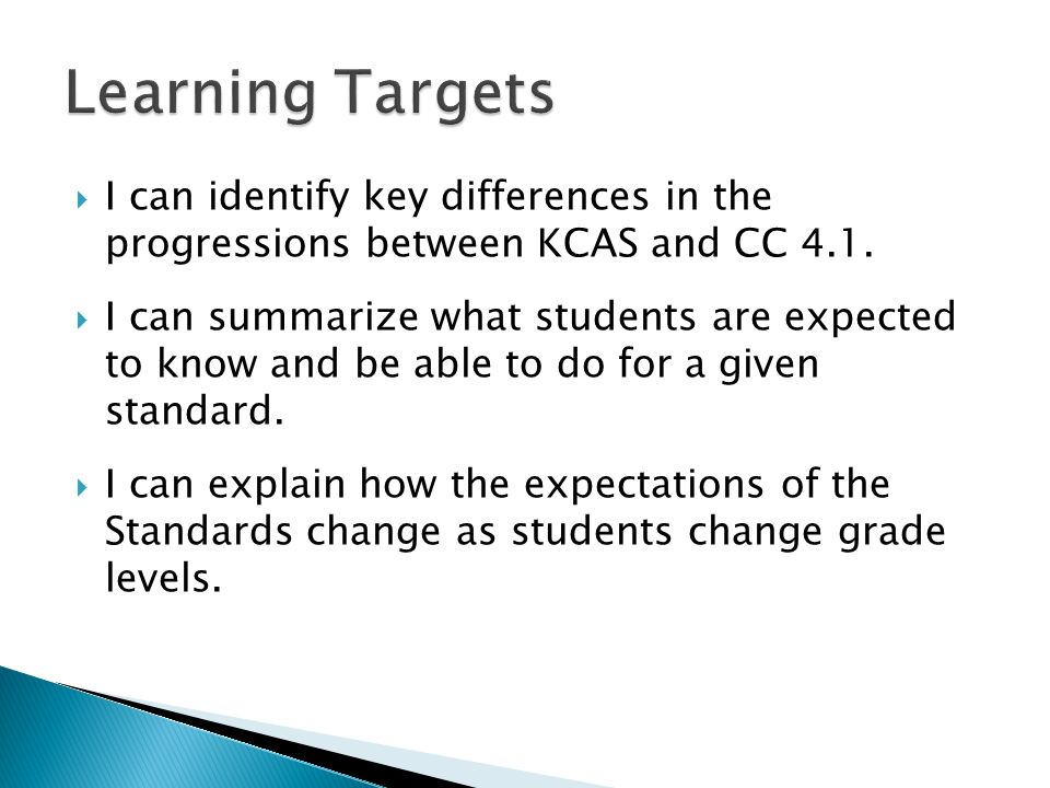 I can identify key differences in the progressions between KCAS and CC 4.1.