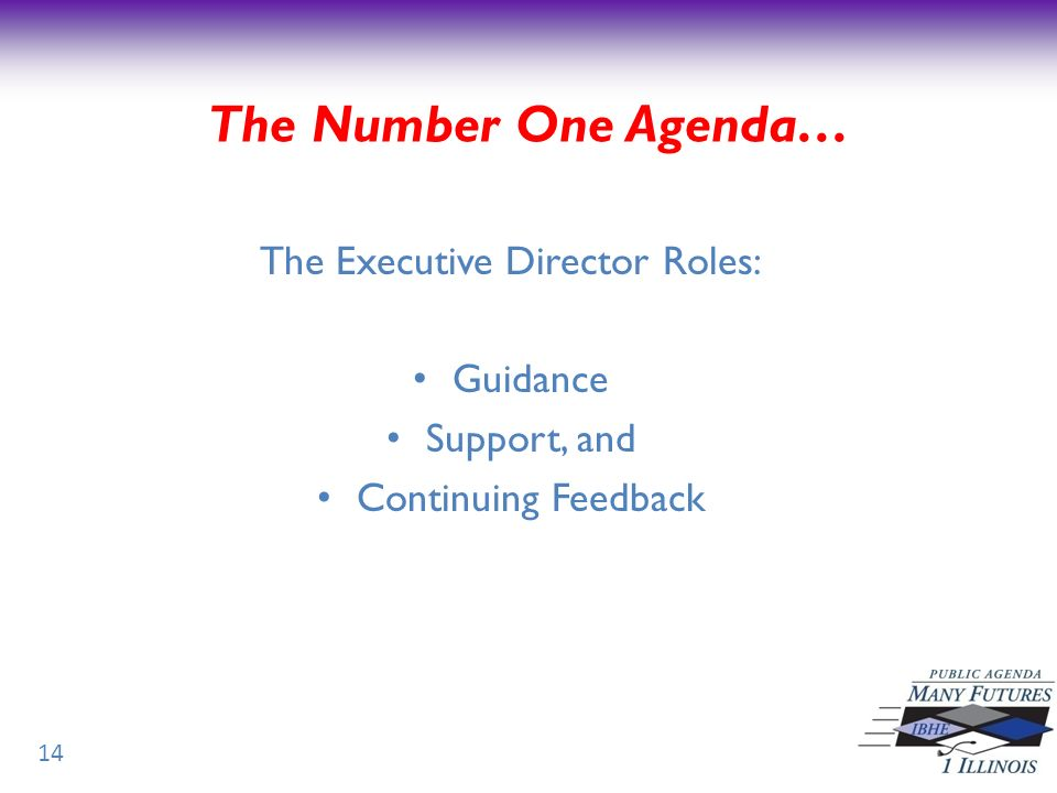 The Executive Director Roles: Guidance Support, and Continuing Feedback 14 The Number One Agenda…