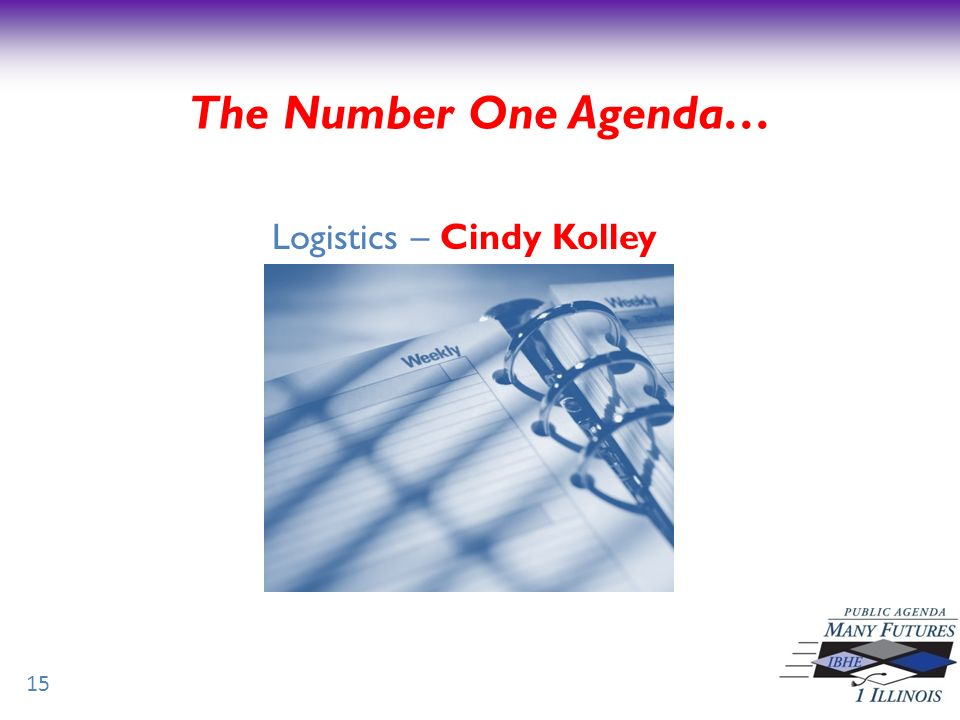 Logistics – Cindy Kolley 15 The Number One Agenda…