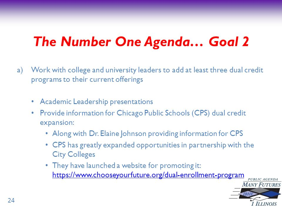 a)Work with college and university leaders to add at least three dual credit programs to their current offerings Academic Leadership presentations Provide information for Chicago Public Schools (CPS) dual credit expansion: Along with Dr.