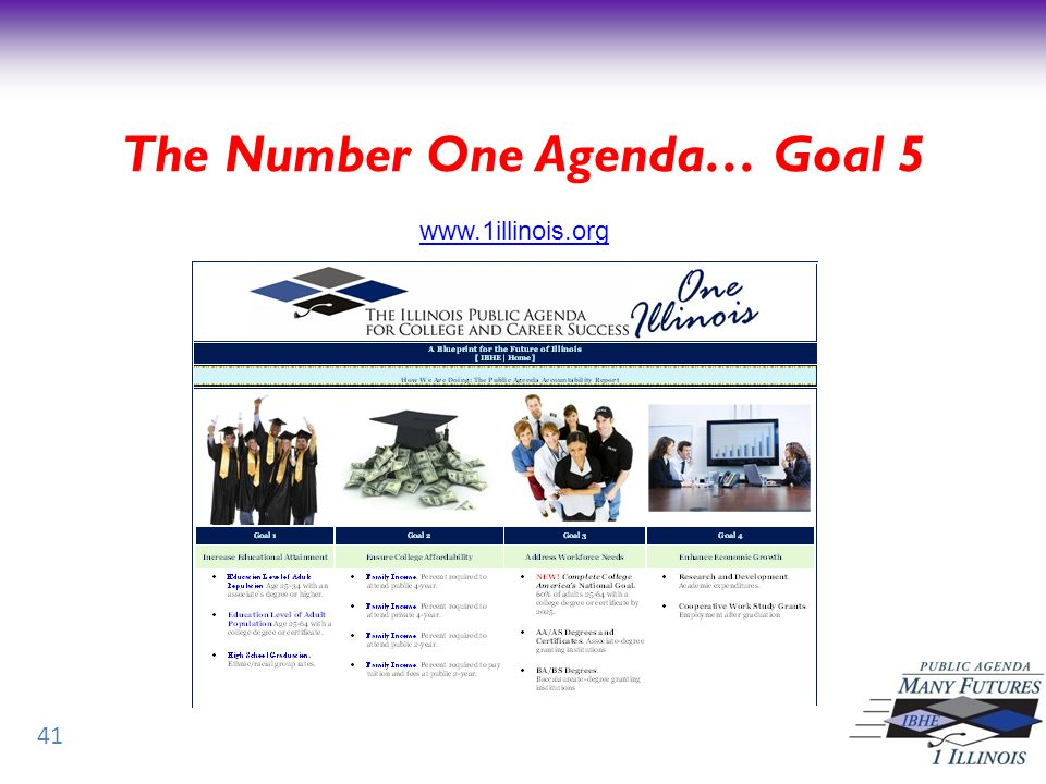 41 www.1illinois.org The Number One Agenda… Goal 5