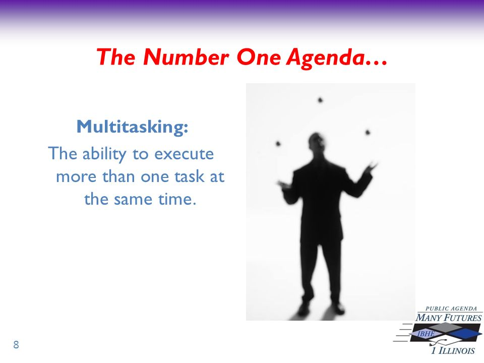 The Number One Agenda… Multitasking: The ability to execute more than one task at the same time. 8