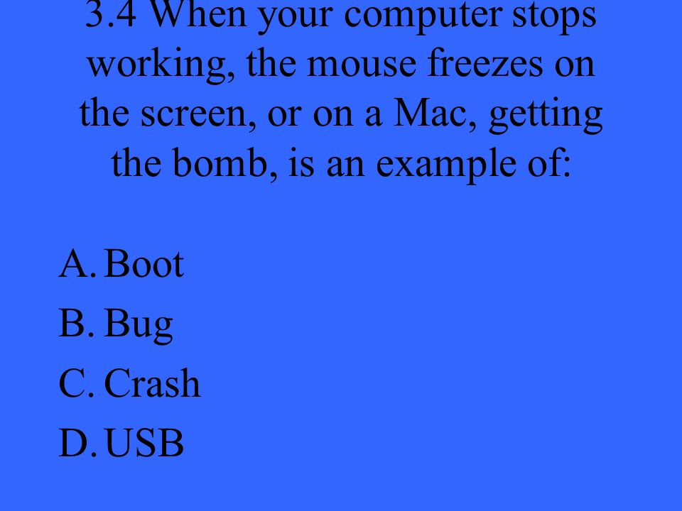 3.4 When your computer stops working, the mouse freezes on the screen, or on a Mac, getting the bomb, is an example of: A.Boot B.Bug C.Crash D.USB