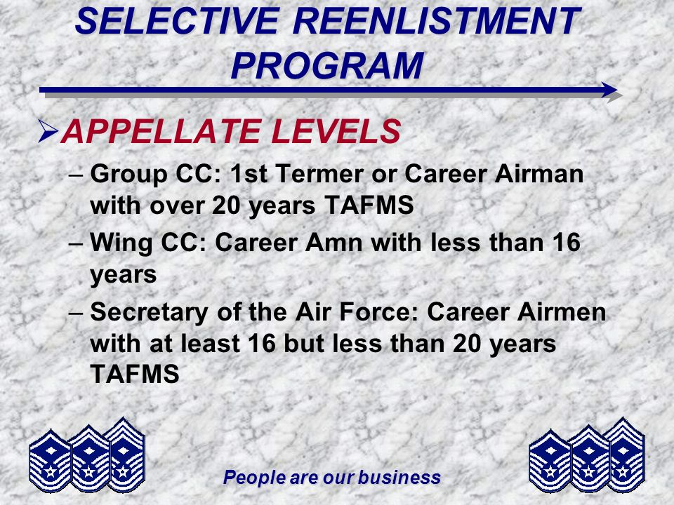 People are our business SELECTIVE REENLISTMENT PROGRAM APPELLATE LEVELS –Group CC: 1st Termer or Career Airman with over 20 years TAFMS –Wing CC: Career Amn with less than 16 years –Secretary of the Air Force: Career Airmen with at least 16 but less than 20 years TAFMS