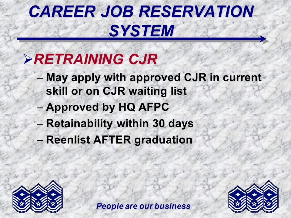 People are our business CAREER JOB RESERVATION SYSTEM RETRAINING CJR –May apply with approved CJR in current skill or on CJR waiting list –Approved by HQ AFPC –Retainability within 30 days –Reenlist AFTER graduation