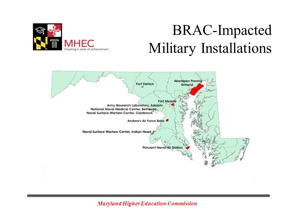 Maryland Higher Education Commission BRAC-Impacted Military Installations