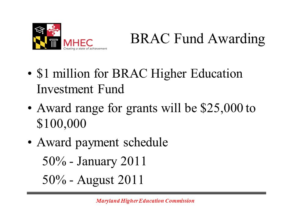 Maryland Higher Education Commission BRAC Fund Awarding $1 million for BRAC Higher Education Investment Fund Award range for grants will be $25,000 to $100,000 Award payment schedule 50% - January 2011 50% - August 2011