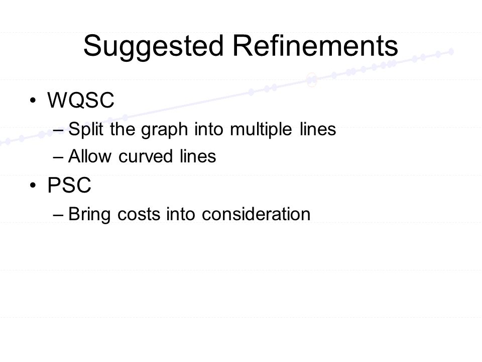 Suggested Refinements WQSC –Split the graph into multiple lines –Allow curved lines PSC –Bring costs into consideration