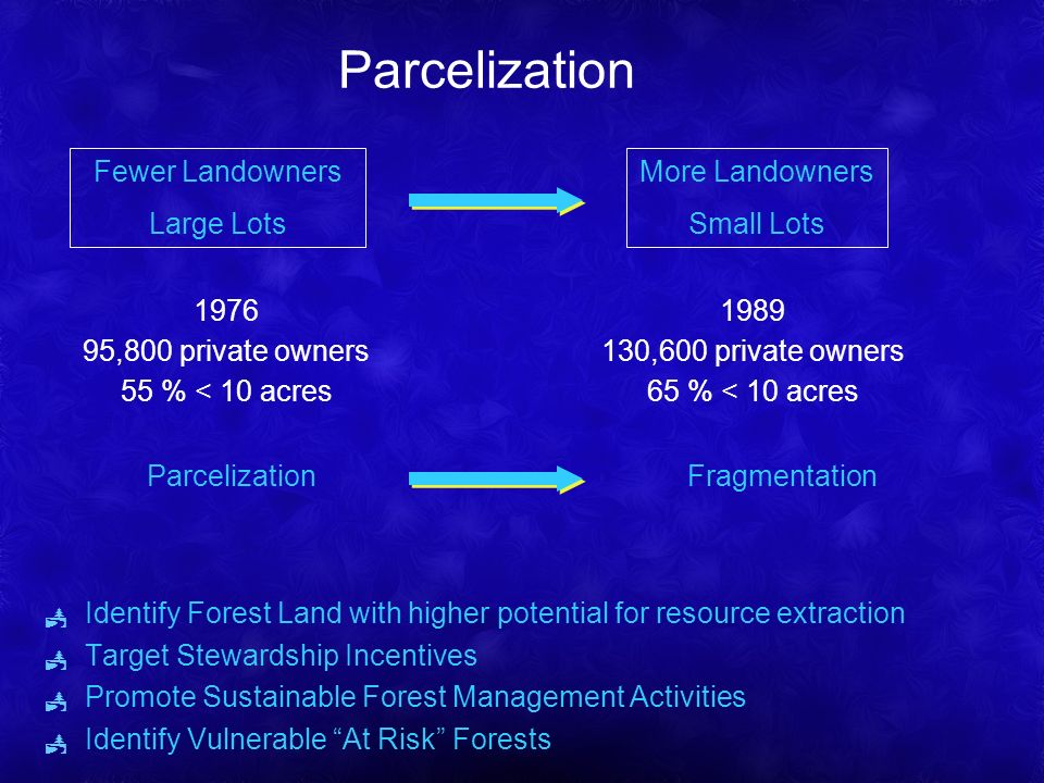 Parcelization Identify Forest Land with higher potential for resource extraction Target Stewardship Incentives Promote Sustainable Forest Management Activities Identify Vulnerable At Risk Forests More Landowners Small Lots Fewer Landowners Large Lots 1976 95,800 private owners 55 % < 10 acres 1989 130,600 private owners 65 % < 10 acres Parcelization Fragmentation