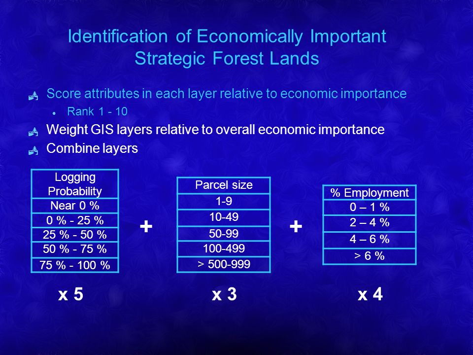 Identification of Economically Important Strategic Forest Lands Score attributes in each layer relative to economic importance l Rank 1 - 10 Weight GIS layers relative to overall economic importance Combine layers % Employment 0 – 1 % 2 – 4 % 4 – 6 % > 6 % Parcel size 1-9 10-49 50-99 100-499 > 500-999 Logging Probability Near 0 % 0 % - 25 % 25 % - 50 % 50 % - 75 % 75 % - 100 % x 5x 3x 4 ++