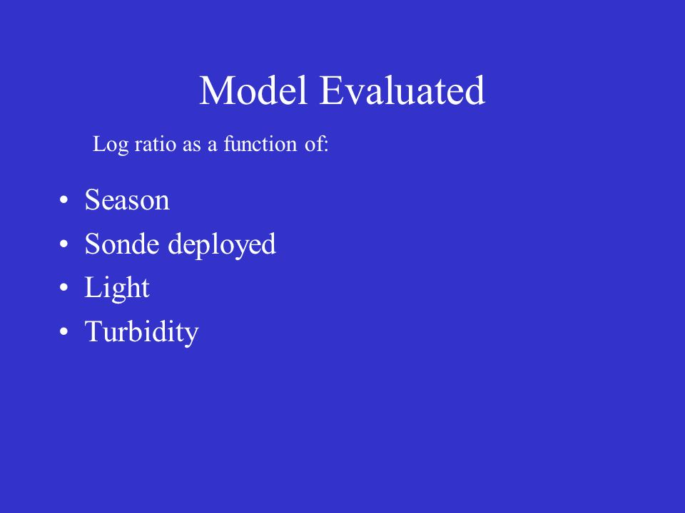Model Evaluated Season Sonde deployed Light Turbidity Log ratio as a function of: