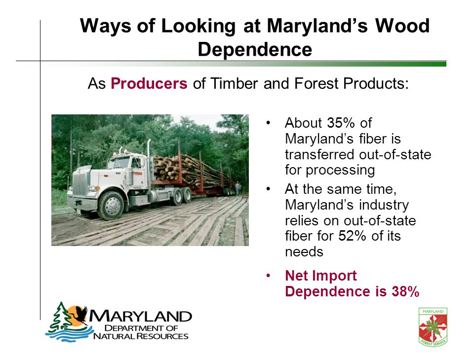 Ways of Looking at Marylands Wood Dependence About 35% of Marylands fiber is transferred out-of-state for processing At the same time, Marylands industry relies on out-of-state fiber for 52% of its needs Net Import Dependence is 38% As Producers of Timber and Forest Products: