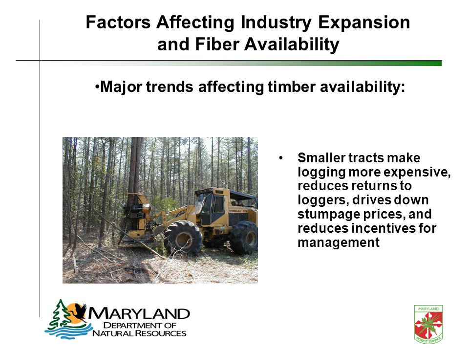 Factors Affecting Industry Expansion and Fiber Availability Smaller tracts make logging more expensive, reduces returns to loggers, drives down stumpage prices, and reduces incentives for management Major trends affecting timber availability: