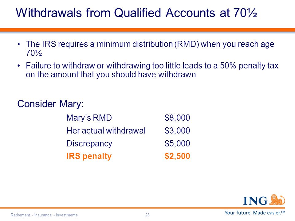 Retirement - Insurance - Investments26 Withdrawals from Qualified Accounts at 70½ The IRS requires a minimum distribution (RMD) when you reach age 70½ Failure to withdraw or withdrawing too little leads to a 50% penalty tax on the amount that you should have withdrawn Consider Mary: Marys RMD$8,000 Her actual withdrawal$3,000 Discrepancy$5,000 IRS penalty$2,500