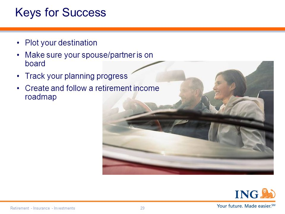 Retirement - Insurance - Investments29 Keys for Success Plot your destination Make sure your spouse/partner is on board Track your planning progress Create and follow a retirement income roadmap