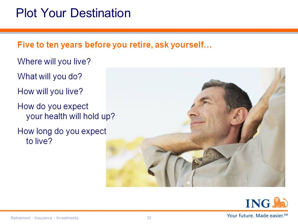 Retirement - Insurance - Investments30 Plot Your Destination Five to ten years before you retire, ask yourself… Where will you live.