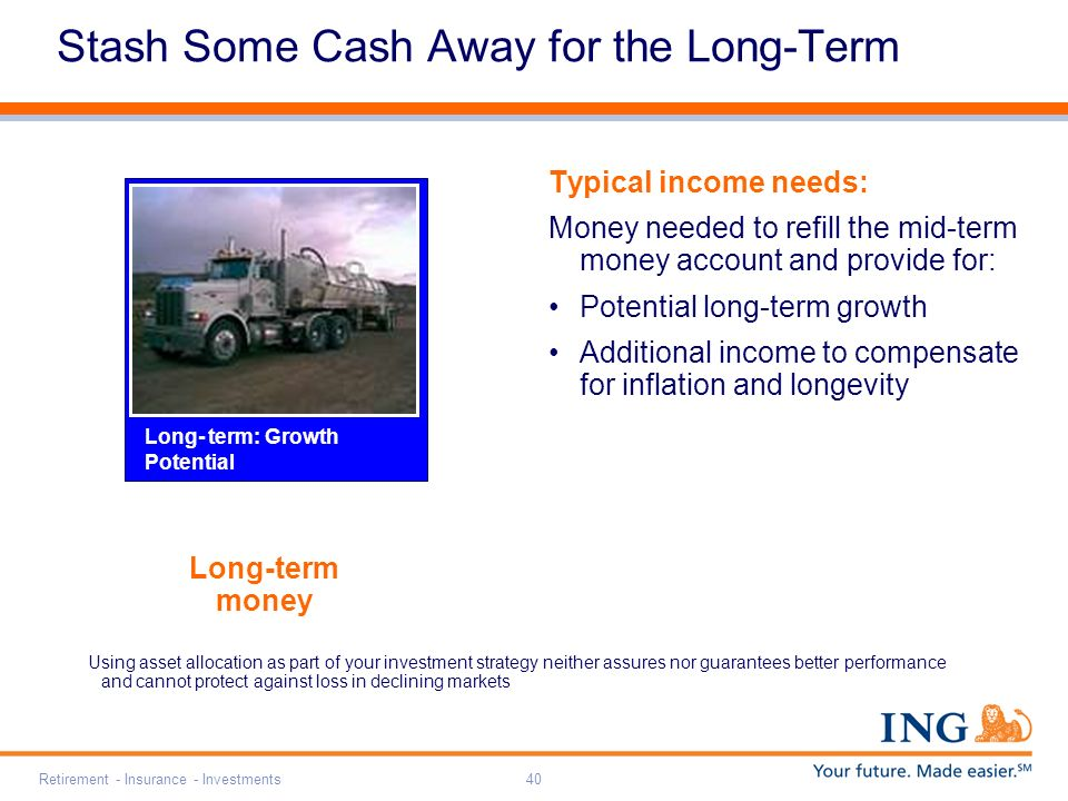 Retirement - Insurance - Investments40 Long-term money Stash Some Cash Away for the Long-Term Typical income needs: Money needed to refill the mid-term money account and provide for: Potential long-term growth Additional income to compensate for inflation and longevity Using asset allocation as part of your investment strategy neither assures nor guarantees better performance and cannot protect against loss in declining markets Long- term: Growth Potential