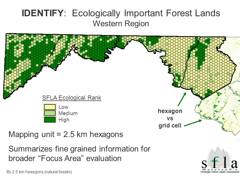 SFLA Ecological Rank Low Medium High IDENTIFY: Ecologically Important Forest Lands Western Region Mapping unit = 2.5 km hexagons Summarizes fine grained information for broader Focus Area evaluation hexagon vs grid cell By 2.5 km hexagons (natural breaks)