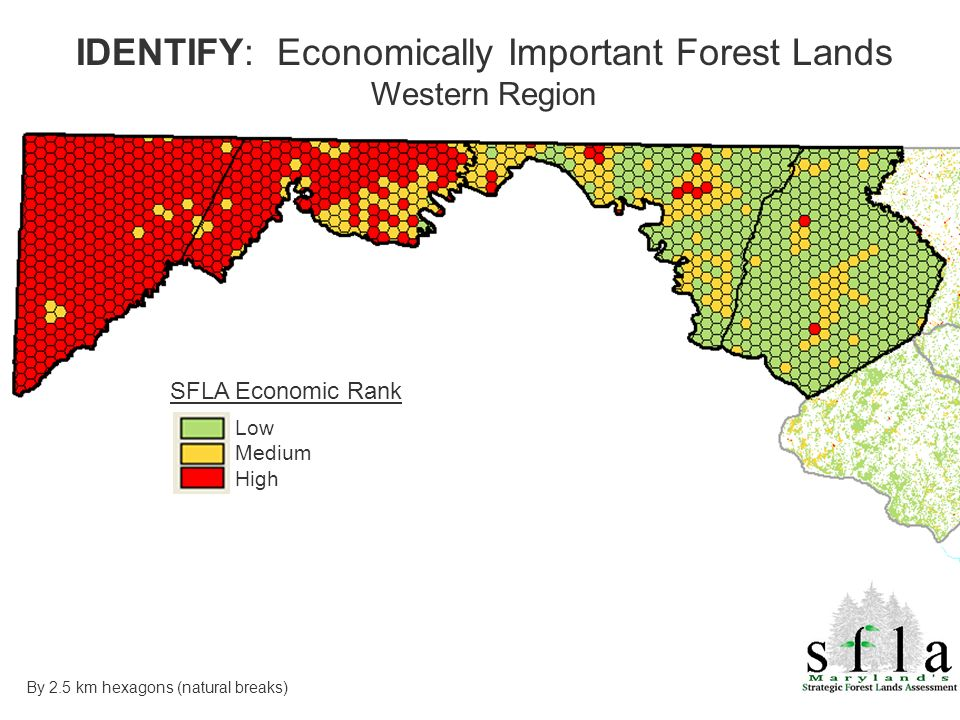 SFLA Economic Rank Low Medium High IDENTIFY: Economically Important Forest Lands Western Region By 2.5 km hexagons (natural breaks)
