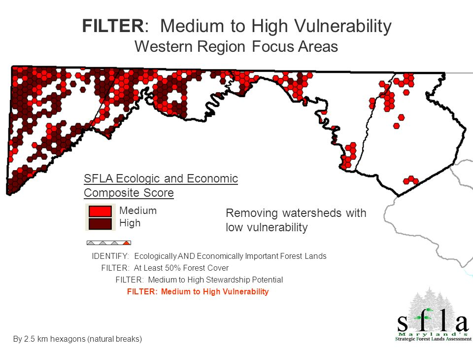 FILTER: Medium to High Vulnerability Western Region Focus Areas SFLA Ecologic and Economic Composite Score Medium High By 2.5 km hexagons (natural breaks) IDENTIFY: Ecologically AND Economically Important Forest Lands FILTER: At Least 50% Forest Cover FILTER: Medium to High Stewardship Potential FILTER: Medium to High Vulnerability Removing watersheds with low vulnerability