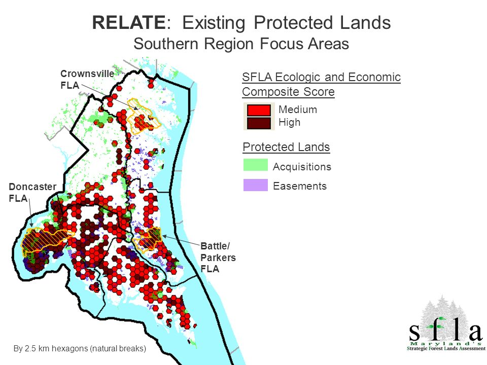 Doncaster FLA Crownsville FLA By 2.5 km hexagons (natural breaks) SFLA Ecologic and Economic Composite Score Medium High RELATE: Existing Protected Lands Southern Region Focus Areas Acquisitions Easements Protected Lands Battle/ Parkers FLA