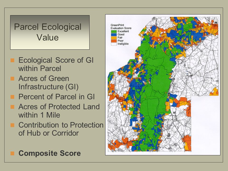 Parcel Ecological Value Ecological Score of GI within Parcel Acres of Green Infrastructure (GI) Percent of Parcel in GI Acres of Protected Land within 1 Mile Contribution to Protection of Hub or Corridor Composite Score