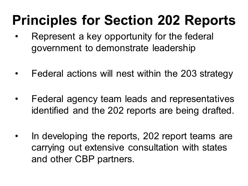 Principles for Section 202 Reports Represent a key opportunity for the federal government to demonstrate leadership Federal actions will nest within the 203 strategy Federal agency team leads and representatives identified and the 202 reports are being drafted.