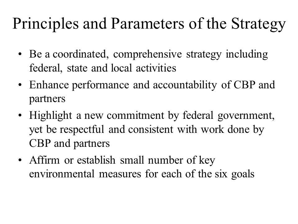 Principles and Parameters of the Strategy Be a coordinated, comprehensive strategy including federal, state and local activities Enhance performance and accountability of CBP and partners Highlight a new commitment by federal government, yet be respectful and consistent with work done by CBP and partners Affirm or establish small number of key environmental measures for each of the six goals