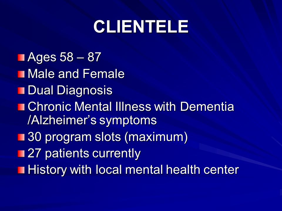 CLIENTELE Ages 58 – 87 Male and Female Dual Diagnosis Chronic Mental Illness with Dementia /Alzheimers symptoms 30 program slots (maximum) 27 patients currently History with local mental health center