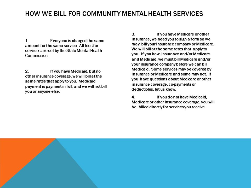 Communicate How we bill for community mental health services with all clients.