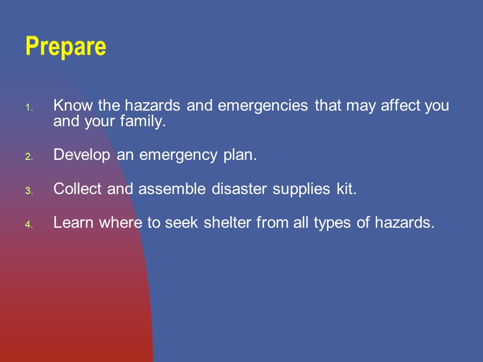 1. Know the hazards and emergencies that may affect you and your family.