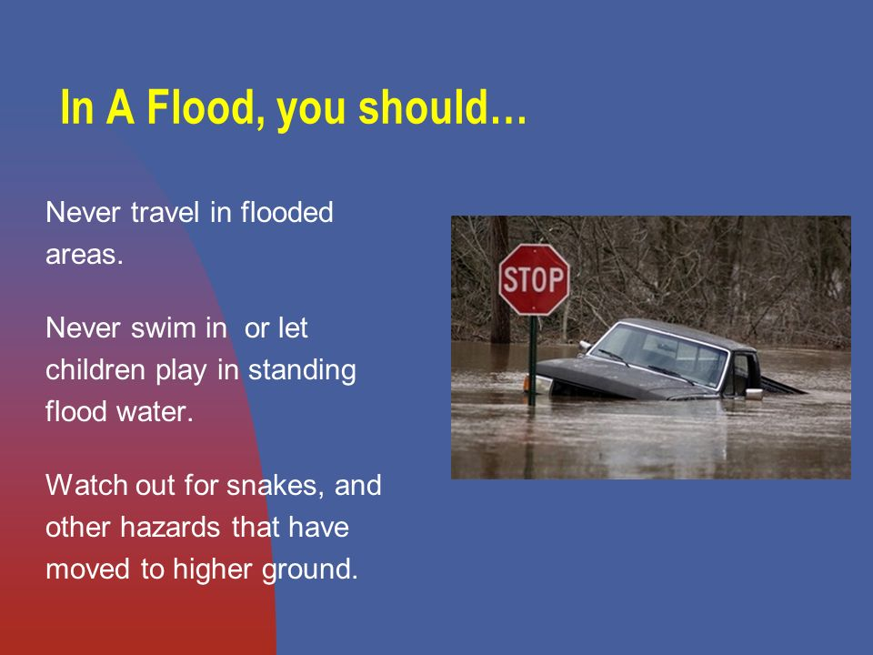 In A Flood, you should… Never travel in flooded areas.