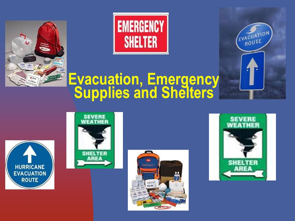 Evacuation, Emergency Supplies and Shelters