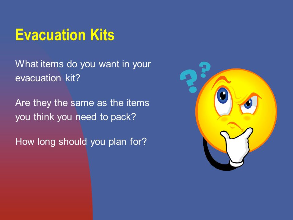 Evacuation Kits What items do you want in your evacuation kit.