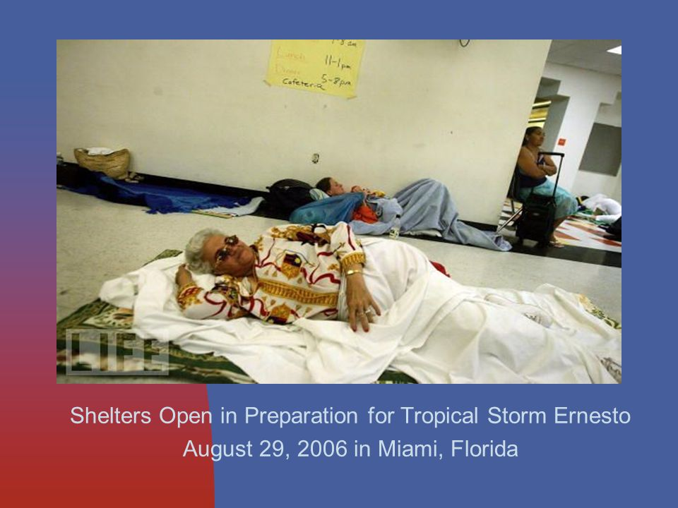 Shelters Open in Preparation for Tropical Storm Ernesto August 29, 2006 in Miami, Florida