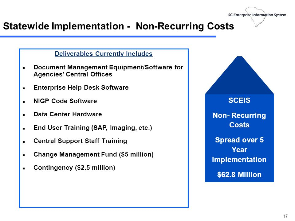 16 Statewide Implementation - Non-Recurring Costs Deliverables Currently Included n Business Blueprints for Finance, HR/Payroll and Budget n Implementation of All State Agencies – Excluding Lump Sum Funded Agencies n Implementation of All Central Systems n SAP Software Licenses: mySAP Business Suite7,000 Employee Self Service40,000 3rd Party SAP PR & Support50,000 Strategic Sourcingstatewide Supplier Enablement500 SRM Vendor Employee20,000 Treasury40 Grants1,500 SCEIS Non- Recurring Costs Spread over 5 Year Implementation $62.8 Million