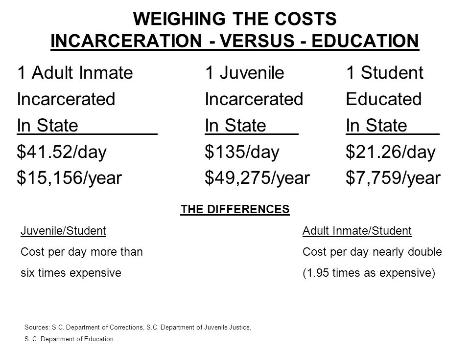 WEIGHING THE COSTS INCARCERATION - VERSUS - EDUCATION 1 Adult Inmate1 Juvenile1 Student IncarceratedIncarceratedEducated In StateIn StateIn State $41.52/day$135/day$21.26/day $15,156/year$49,275/year$7,759/year THE DIFFERENCES Juvenile/StudentAdult Inmate/Student Cost per day more than Cost per day nearly double six times expensive(1.95 times as expensive) Sources: S.C.