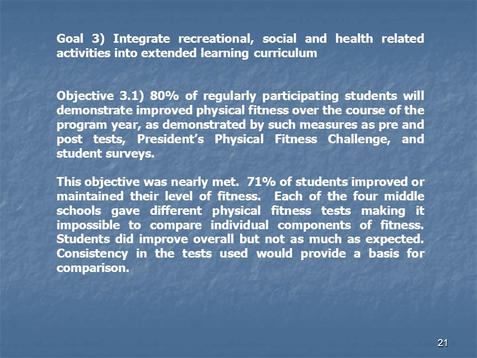 21 Goal 3) Integrate recreational, social and health related activities into extended learning curriculum Objective 3.1) 80% of regularly participating students will demonstrate improved physical fitness over the course of the program year, as demonstrated by such measures as pre and post tests, Presidents Physical Fitness Challenge, and student surveys.