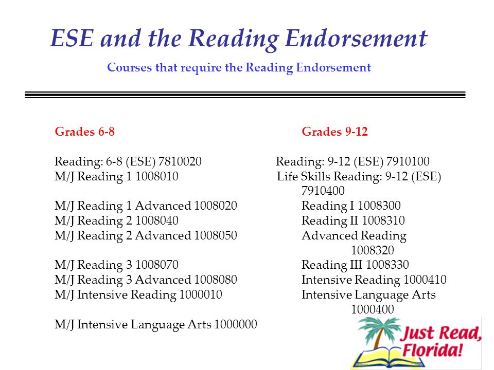 ESE and the Reading Endorsement Courses that require the Reading Endorsement Grades 6-8 Grades 9-12 Reading: 6-8 (ESE) 7810020 Reading: 9-12 (ESE) 7910100 M/J Reading 1 1008010 Life Skills Reading: 9-12 (ESE) 7910400 M/J Reading 1 Advanced 1008020 Reading I 1008300 M/J Reading 2 1008040 Reading II 1008310 M/J Reading 2 Advanced 1008050 Advanced Reading 1008320 M/J Reading 3 1008070 Reading III 1008330 M/J Reading 3 Advanced 1008080 Intensive Reading 1000410 M/J Intensive Reading 1000010 Intensive Language Arts 1000400 M/J Intensive Language Arts 1000000