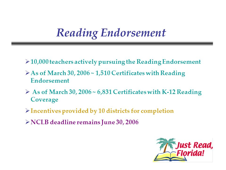 Reading Endorsement 10,000 teachers actively pursuing the Reading Endorsement As of March 30, 2006 ~ 1,510 Certificates with Reading Endorsement As of March 30, 2006 ~ 6,831 Certificates with K-12 Reading Coverage Incentives provided by 10 districts for completion NCLB deadline remains June 30, 2006