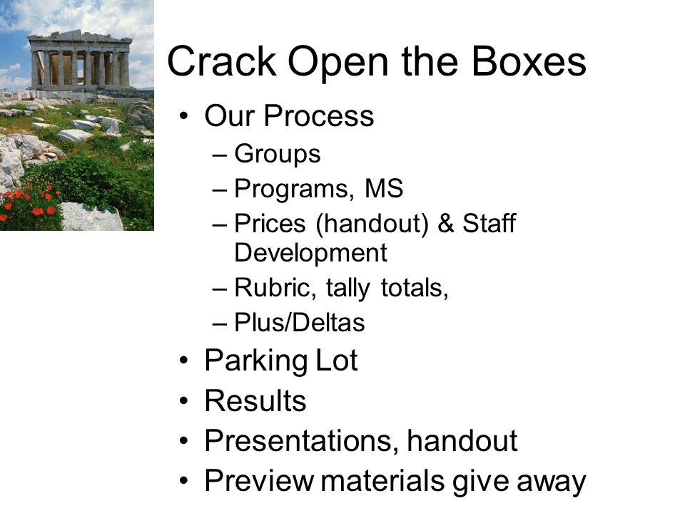 Crack Open the Boxes Our Process –Groups –Programs, MS –Prices (handout) & Staff Development –Rubric, tally totals, –Plus/Deltas Parking Lot Results Presentations, handout Preview materials give away